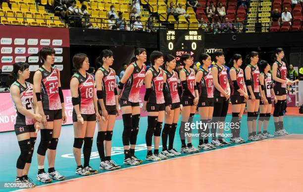 Players of Japan stabd during the FIVB Volleyball World Grand Prix Hong Kong 2017 match between Japan and Serbia on 22 July 2017 in Hong Kong Hong...