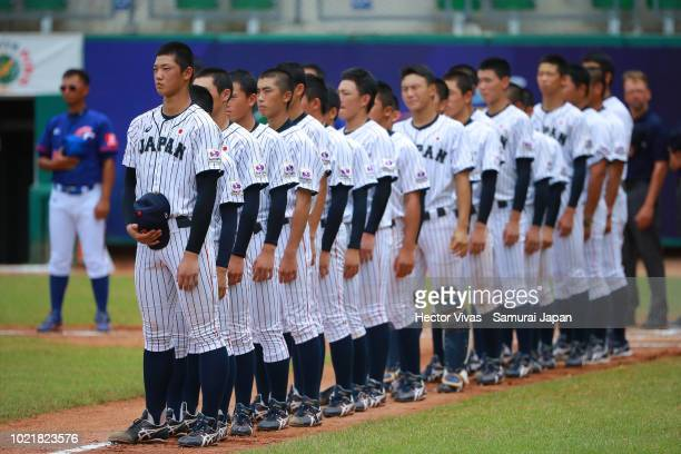 Players of Japan gather during the Bronze Medal match of WSBC U15 World Cup Super Round between Japan and Chinese Taipei at Estadio Kenny Serracin on...