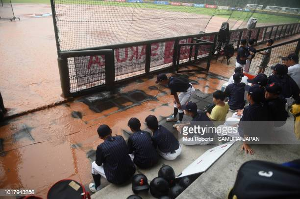Players of Japan looks dejected after the BFA U12 Asian Championship Super Round match between South Korea and Japan at Youth Park Baseball Field on...