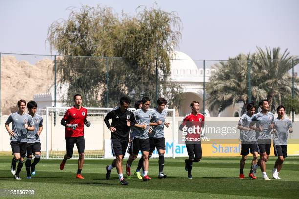 Players of Japan warm up during the training session on January 29 2019 in Al Ain United Arab Emirates
