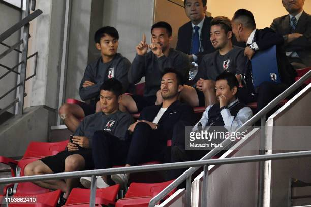 Players of Japan watch the game during the international friendly match between Japan and Trinidad and Tobago at Toyota Stadium on June 05 2019 in...