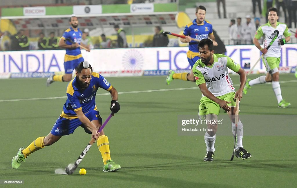 Players of Jaypee Punjab Warriors and Delhi Waveriders in action during the Coal Hockey India League match at Hockey Stadium Sports Complex Sector42..