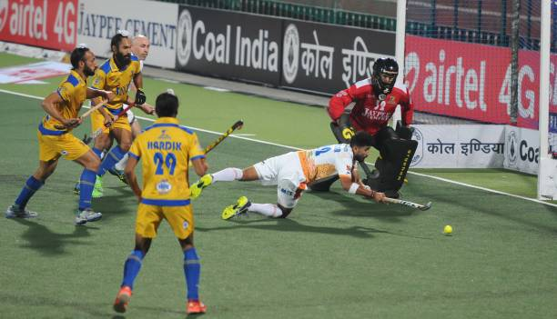 Players of Jaypee Punjab Warriors and Kalinga Lancers in action during a Coal India Hockey India League 2017 at Hockey Stadium sector 42 on February..