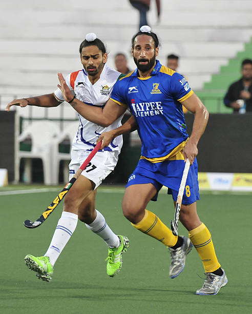 Players of Jaypee Punjab Warriors and Uttar Pradesh Wizards in action during the Coal India Hockey India League match at Hockey Stadium Sports...