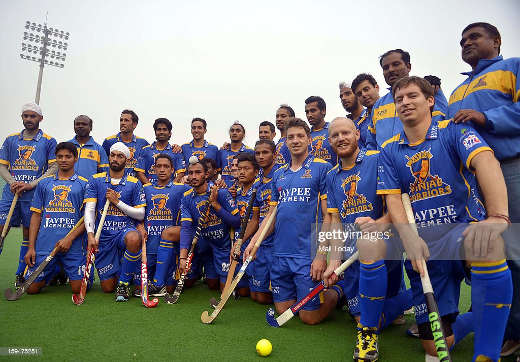 Players of Jaypee Punjab Warriors team at a practice session ahead of Hockey India League at National Stadium in New Delhi on Sunday.