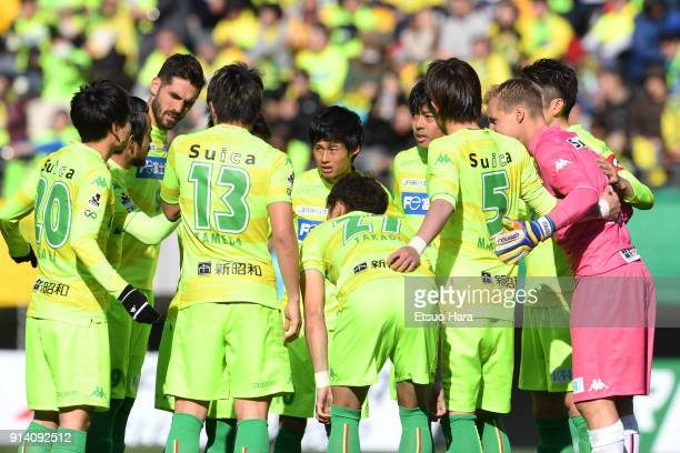Players of JEF United Chiba huddle during the preseason friendly match between JEF United Chiba and Kashiwa Reysol at Fukuda Denshi Arena on February...