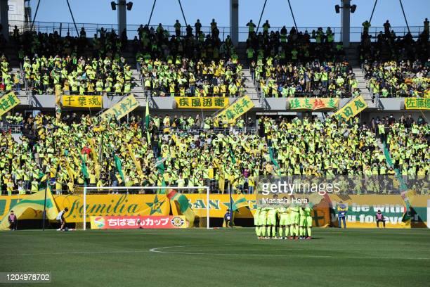 Players of JEF United Chiba make the huddle prior to the preseason friendly match between JEF United Chiba and Kashiwa Reysol at Fukuda Denshi Arena...