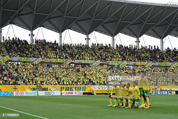 Players of JEF United Chiba pose for photograph prior to the JLeague second division match between JEF United Chiba and Thespa Kusatsu Gunma at the...