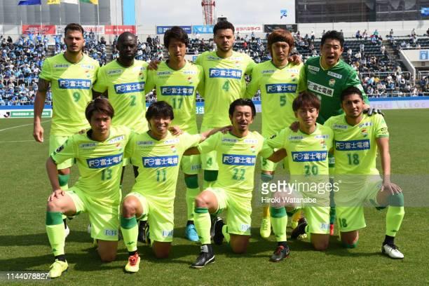 Players of JEF United Ciba pose for a photograph before the J.League J2 match between Yokohama FC and JEF United Chiba at Nippatsu Mitsuzawa Stadium...
