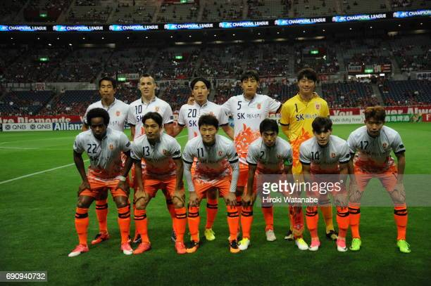Players of Jeju United FC pose for photograph the AFC Champions League Round of 16 match between Urawa Red Diamonds and Jeju United FC at Saitama...