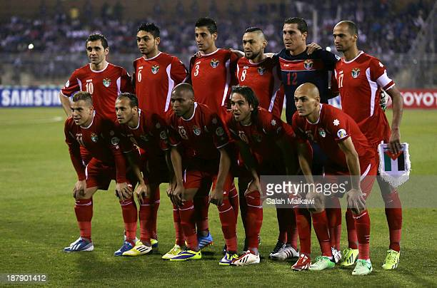 Players of Jordan pose for a group photograph during the FIFA 2014 World Cup Qualifier Intercontinental Playoff First Leg between Jordan and Uruguay...