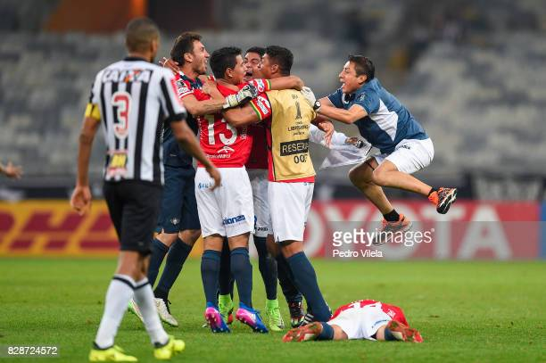Players of Jorge Wilstermann celebrate after the game between Atletico MG and Jorge Wilstermann as part of Copa Bridgestone Libertadores 2017 at...
