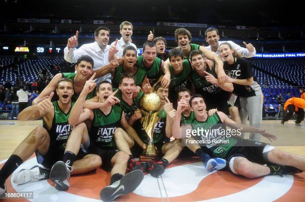 Players of Joventut Badalona celebrate after the Nike International Junior Tournament Final game between Club Joventut Badalona v FC Barcelona Regal...