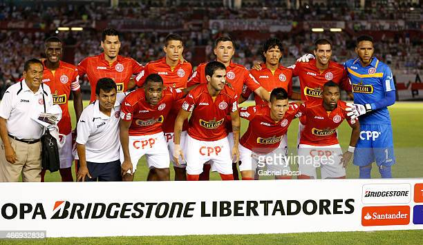 Players of Juan Aurich pose for a photo prior a match between River Plate and Juan Aurich as part of Copa Bridgestone Libertadores 2015 at Antonio...