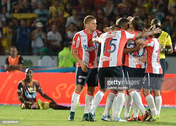 Players of Junior celebrate their team's winning goal to Tolima during a first leg match between Deportes Tolima and Ateltico Junior as part of Semi...