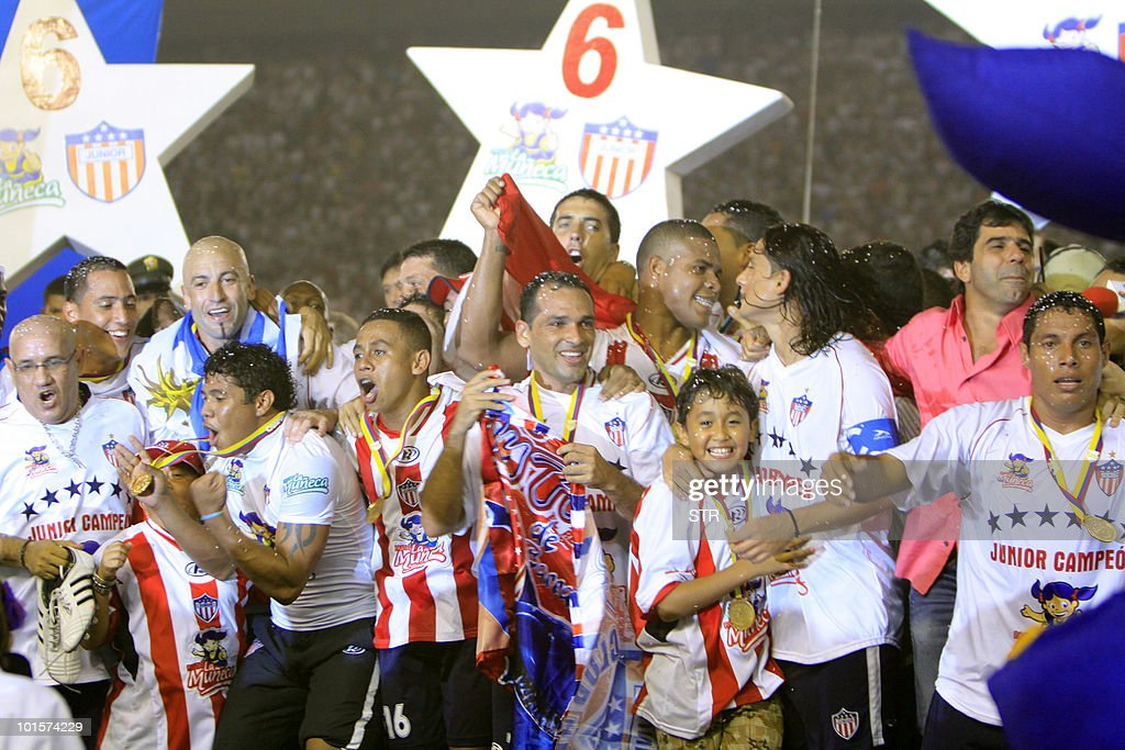 Players of Junior of Barranquilla celebrate after defeating La Equidad during the Colombian Soccer League final match in Barranquilla on June 02, 2010. Junior got their sixth title in the First Division Colombian League.