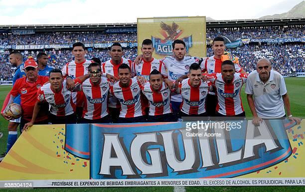 Players of Junior pose prior a second leg match between Millonarios and Junior as part of quarter finals of Liga Aguila I 2016 at Nemesio Camacho El...