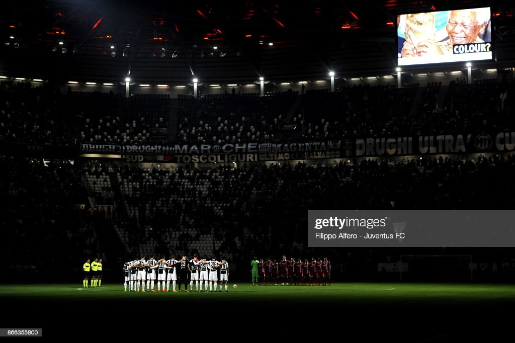 Players of Juventus and Spal listen to a speaker reading a passage from the diary of holocaust victim Anne Frank before the Serie A match between Juventus and Spal on October 25, 2017 in Turin, Italy.