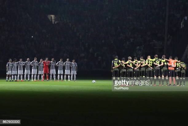 Players of Juventus and Sporting CP during a minute of silence before the UEFA Champions League football match at Allianz Stadium on 18 October 2017...