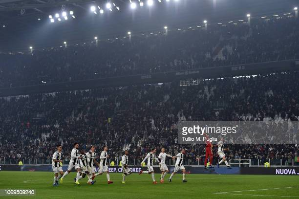 Players of Juventus celebrate after winning the Serie A match between Juventus and FC Internazionale at Allianz Stadium on December 7 2018 in Turin...