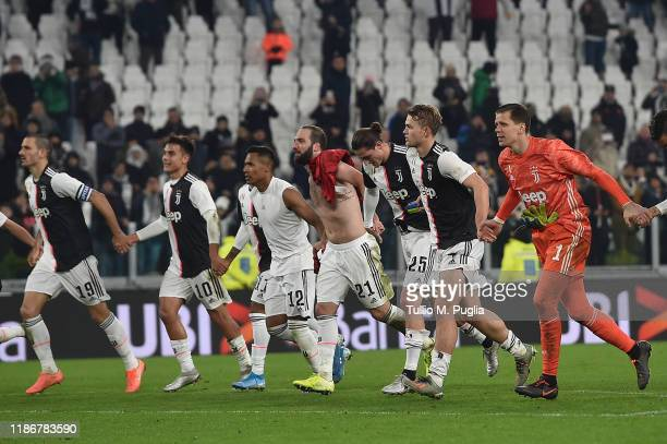 Players of Juventus celebrate after winning the Serie A match between Juventus and AC Milan at Allianz Stadium on November 10 2019 in Turin Italy