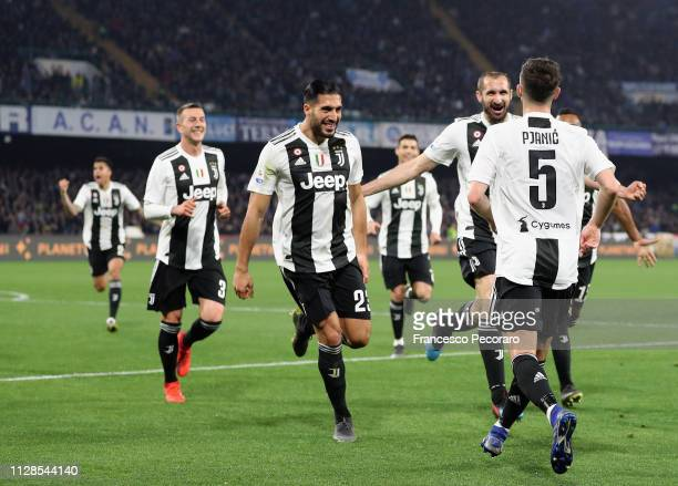 Players of Juventus celebrate the 01 goal scored by Miralem Pjanic during the Serie A match between SSC Napoli and Juventus at Stadio San Paolo on...