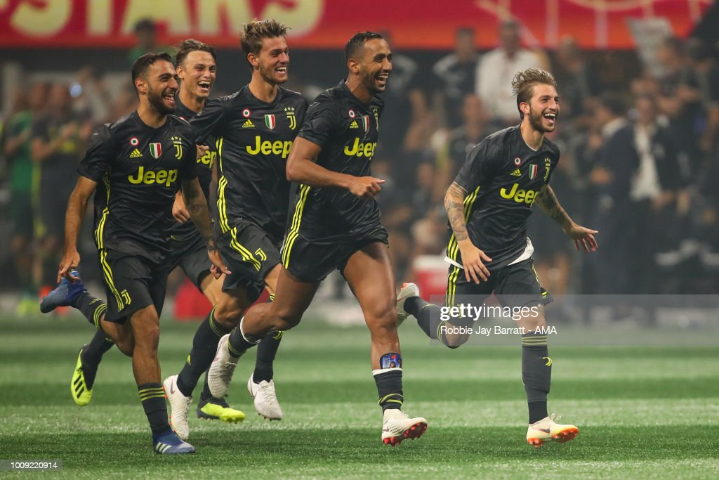 Players of Juventus celebrate winning the penalty shoot out after Mattia De Sciglio of Juventus scores the winning penalty during the 2018 MLS All-Stars game between Juventus v MLS All-Stars at Mercedes-Benz Stadium on August 1, 2018 in Atlanta, Georgia.