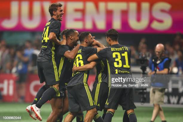 Players of Juventus celebrate winning the penalty shoot out after Mattia De Sciglio of Juventus scores the winning penalty during the 2018 MLS...