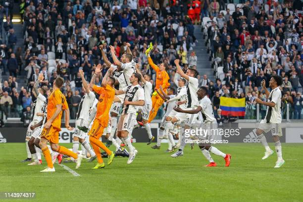 Players of Juventus celebrate with their supporters after winning the Italian league at the end of the Serie A match between Juventus and ACF...