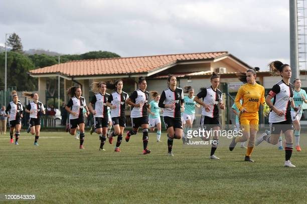 Players of Juventus enter the pitch before the Viareggio Women's Cup match between Juventus U19 and FC Internazionale U19 on February 13 2020 in...