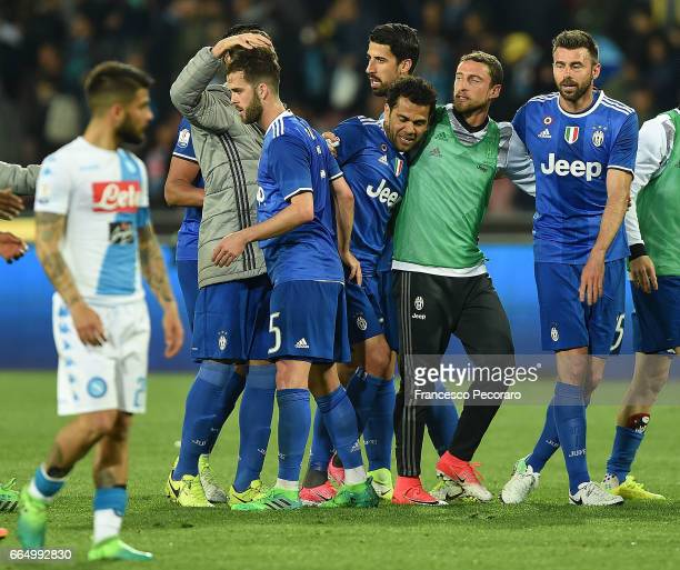 Players of Juventus FC celebrate beside the disappointment of players of SSC Napoli after the TIM Cup match between SSC Napoli and Juventus FC at...