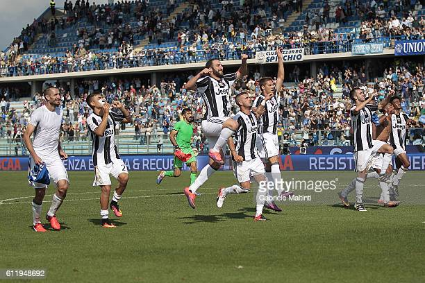 Players of Juventus FC celebrates the victory after during the Serie A match between Empoli FC and Juventus FC at Stadio Carlo Castellani on October...