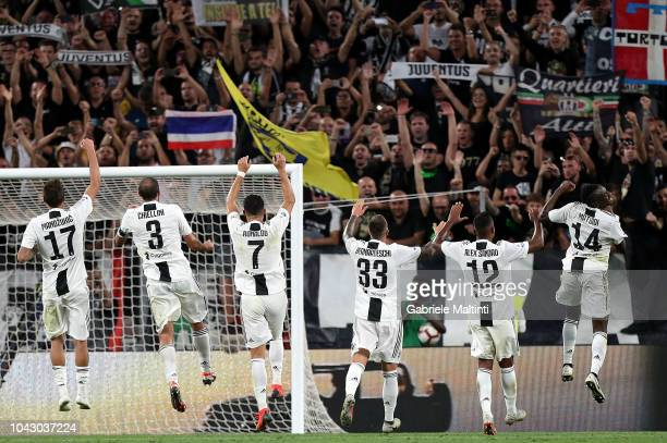 Players of Juventus FC greets fans during the Serie A match between Juventus and SSC Napoli at Allianz Stadium on September 29 2018 in Turin Italy
