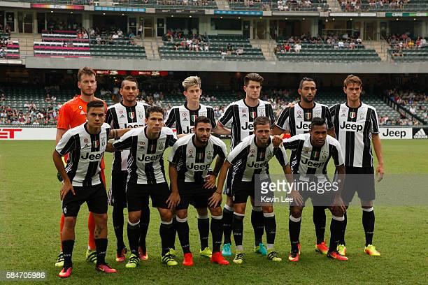 Players of Juventus FC pose for a picture before the match between Juventus FC and South China of Hong Kong at Hong Kong Stadium on July 30 2016 in...