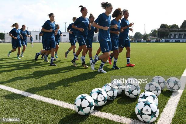 Players of Juventus Women during a training session at Vinovo on August 10 2017 in Turin Italy