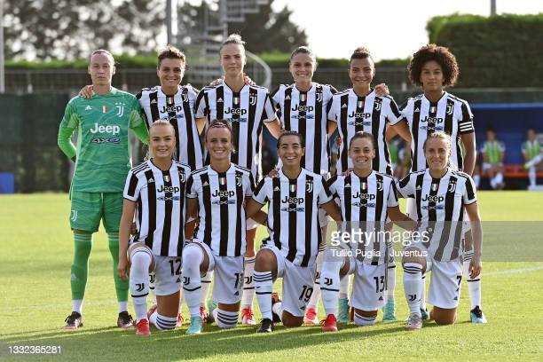 Players of Juventus Women pose for a team photo during the pre-season friendly match between Montpellier Women and Juventus Women at Bernard Gasset...