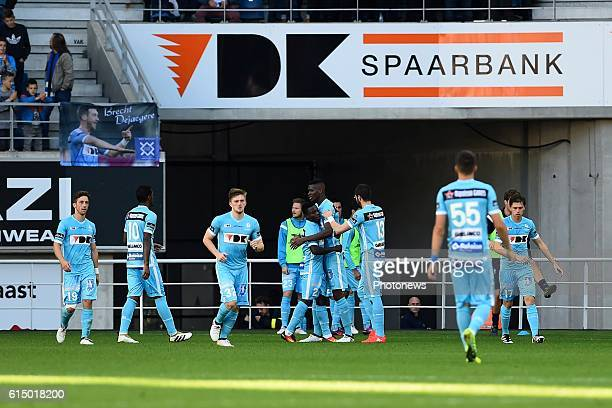 Players of KAA Gent are celebrating after the 1-0 during the Jupiler Pro League match between KAA Gent and SV Zulte Waregem in the Ghelamco Arena...