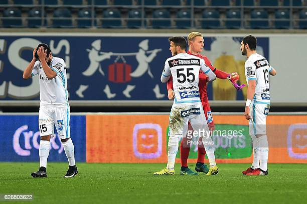 Players of kaa gent are celebrating the victory in the Croky Cup match between KAA Gent and KSC LOKEREN in the Ghelamco Arena stadium on NOVEMBER 30,...