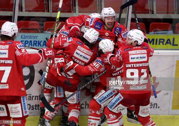 Players of KAC Klagenfurt celebrate during the Bet-at-home Ice Hockey League Playoff-final match between EC KAC and HCB Suedtirol Alperia at...
