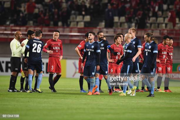 Players of Kashima Antlers and of Sydney FC looks dejected after the AFC Champions League Group H match between Kashima Antlers and Sydney FC at...