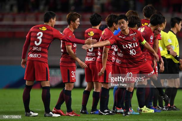 Players of Kashima Antlers celebrate 10 victory after the JLeague J1 match between Kashima Antlers and Cerezo Osaka at Kashima Soccer Stadium on...