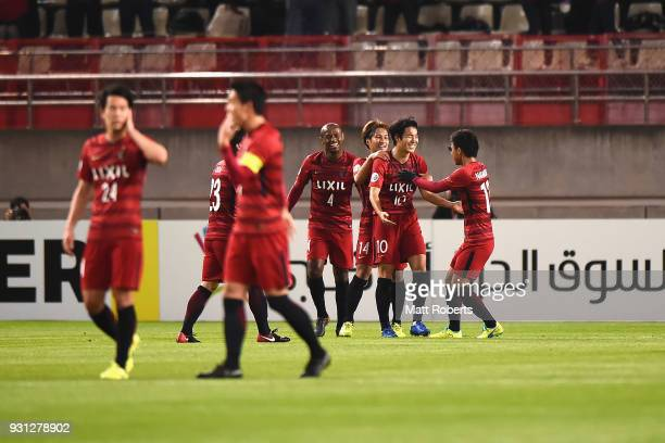 Players of Kashima Antlers celebrate a goal during the AFC Champions League Group H match between Kashima Antlers and Sydney FC at Kashima Soccer...