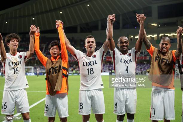 Players of Kashima Antlers celebrate at full time during the FIFA Club World Cup UAE 2018 match between Kashima Antlers and CD Guadalajara at Hazza...