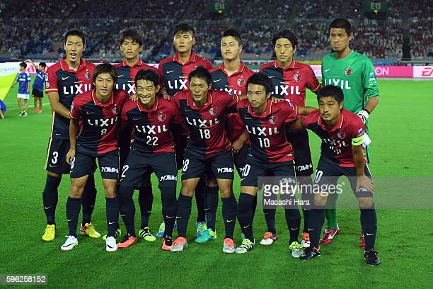 Players of Kashima Antlers pose for photograph prior to the JLeague match between Yokohama FMarinos and Kashima Antlers at the the Nissan Stadium on...