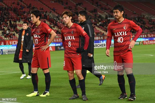 Players of Kashima Antlers react after the AFC Champions League Group H match between Kashima Antlers and Suwon Samsung Bluewings at Kashima Soccer...