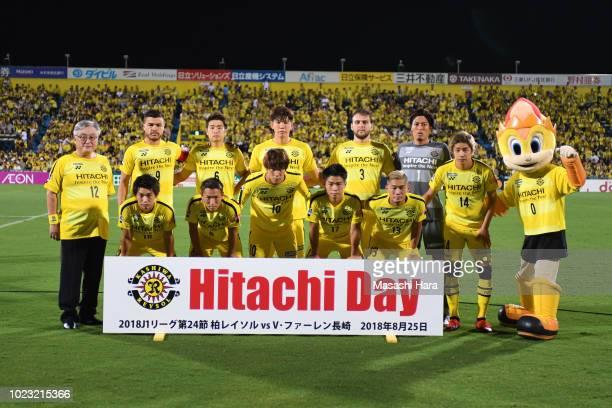 Players of Kashiwa Reysol and Toshiaki Higashihara,CEO of Hitachi pose for photograph prior to the J.League J1 match between Kashiwa Reysol and...