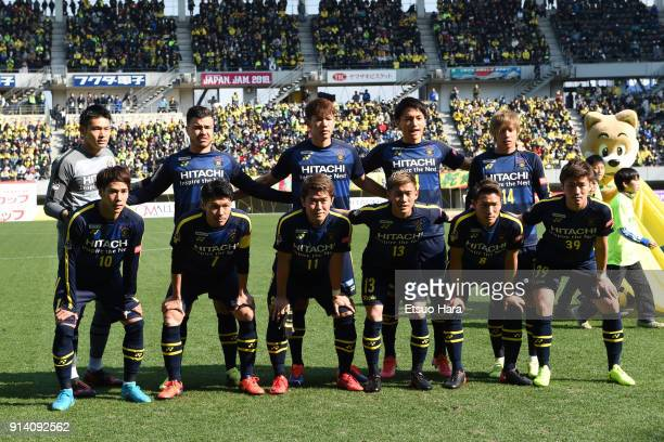 Players of Kashiwa Reysol line up for the team photos prior to the preseason friendly match between JEF United Chiba and Kashiwa Reysol at Fukuda...