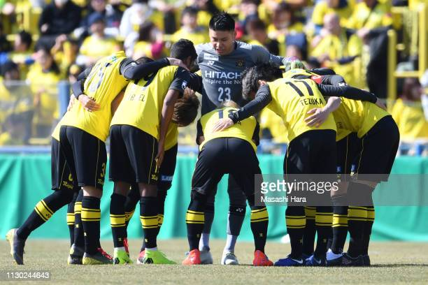 Players of Kashiwa Reysol make the huddle prior to the preseason friendly match between Kashiwa Reysol and JEF United Chiba at Sankyo Frontier...
