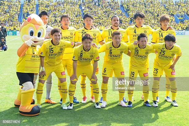 Players of Kashiwa Reysol pose for photograph prior to the JLeague match between Kashiwa Reysol and Vissel Kobe at the Hitachi Kashiwa soccer stadium...