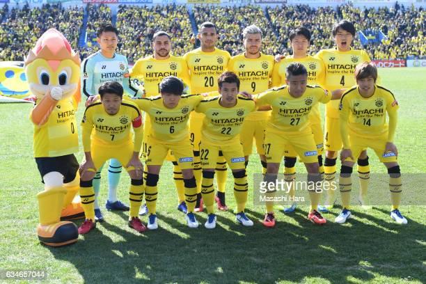 Players of Kashiwa Reysol pose for photograph prior to the preseason friendly between Kashiwa Reysol and JEF United Chiba at Hitachi Kashiwa Soccer...